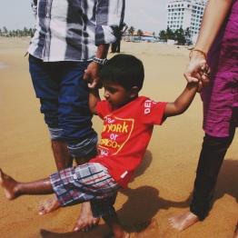 My little nephew at the beach
